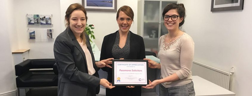 Passmores Solicitors Honoured For Helping To Secure Vital Funds For Cancer Research UK